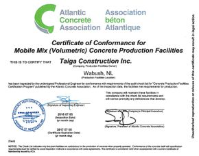 Certificate of Conformance for Mobile Mix